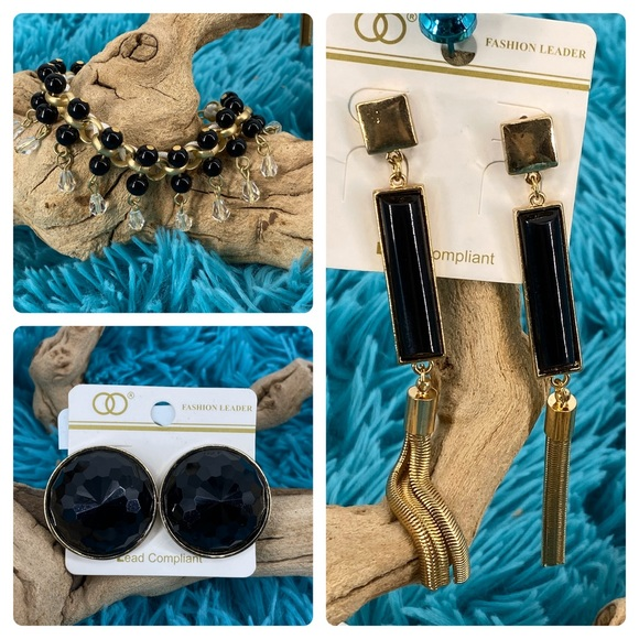 W Stones and Beads Jewelry - 3 pc gold & black earrings and bracelet set